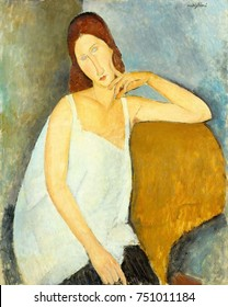 JEANNE HEBUTERNE, by Amedeo Modigliani, 1919, Italian modernist painting, oil on canvas. Hebuterne, the artists 21 year old mistress, was pregnant with their second child. This portrait is painted wit