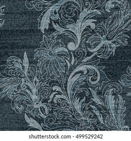 Jeans background with flowers. Denim seamless pattern. Gray jeans fabric. Floral lacy grunge background.