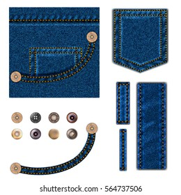 Jeans and buttons. illustration set. Blue denim background with pocket, metal snaps collection and texture border elements wth stitch. isolated over white.