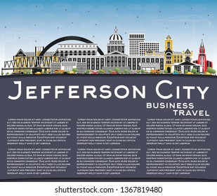 Jefferson City Missouri Skyline with Color Buildings, Blue Sky and Copy Space. Tourism Concept with Historic Architecture. Jefferson City Cityscape with Landmarks.