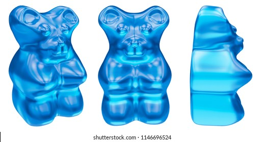 Jelly Bears Gummy, isolated on white background. 3D rendering, clipping path.