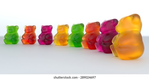 Jelly Gummy Bears. Fruit gum candies