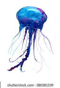Jellyfish watercolor illustration. Medusa painting isolated on white background, colorful tattoo design.