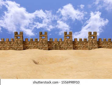 Jericho fortress in panoramic view. The place was the scene of a great battle of the Hebrew people narrated in the Bible. 3D rendering