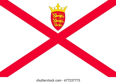 Jersey national flag, island, dependency of the United Kingdom, red saltire on a white field, surmounted by a yellow crown, and the badge. Flat style illustration