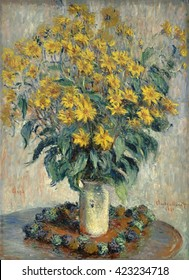 Jerusalem Artichoke Flowers, by Claude Monet, 1880, French impressionist painting, oil on canvas. Flower still life of 1880 shows Monet's evolution to applying paint in similar strokes of varied colo