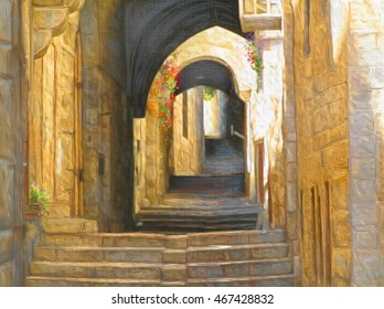 Jerusalem Old City street. Jerusalem old buildings. Stairs, arch, ancient street in David's city - old city of Jerusalem Israel. Digital illustration. Hand Drawn. Simta Jerusalem. Travel. Holy land.