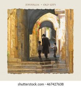 Jerusalem Old City street. Oil painting illustration Hand Drawn. Israel Jewish holidays. Jew, Jewish man, Jewish wedding. Torah Judaism. Bar Mitzvah. Israeli star Jewish family. Rosh Hashana. Passover