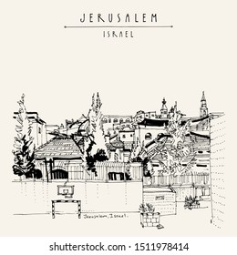 Jerusalem roofs and churches. View of Jewish, Muslim and Christian quarters in Jerusalem, Israel. Skyline. Basketball, football nets on a sports ground. Travel vintage hand drawn postcard