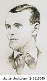 Jesse James (1847-1882), American robber and outlaw. Drawing made from a photograph.
