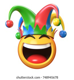 Jester emoji isolated on white background, joker emoticon 3d rendering