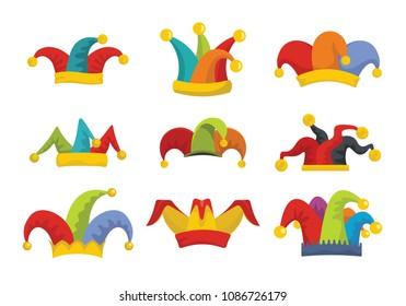 Jester fools hat icons set. Flat illustration of 9 Jester fools hat icons for web