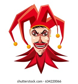 Jester in red hat icon. Cartoon illustration of jester in red hat  icon for web