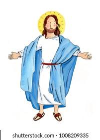 Jesus. Bible. Hand drawn art. Watercolor illustration. Characters.