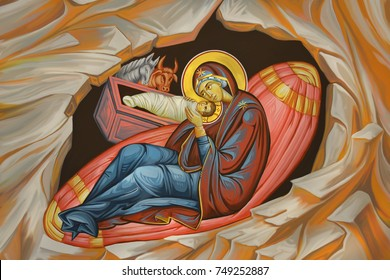 Jesus birth. Holy virgin Maria with newborn kid. Christmas religious illustration - fresco in Byzantine style