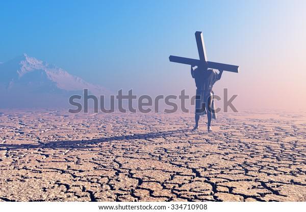 Jesus carries the cross in the desert
