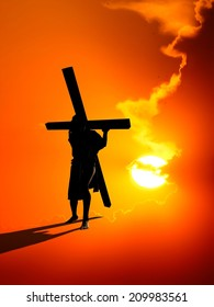 Jesus carries the cross on a red background.