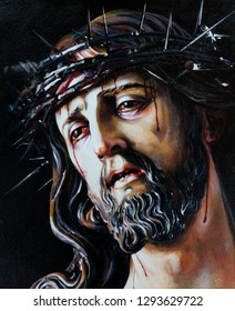 Jesus Christ in a crown of thorns. Oil painting