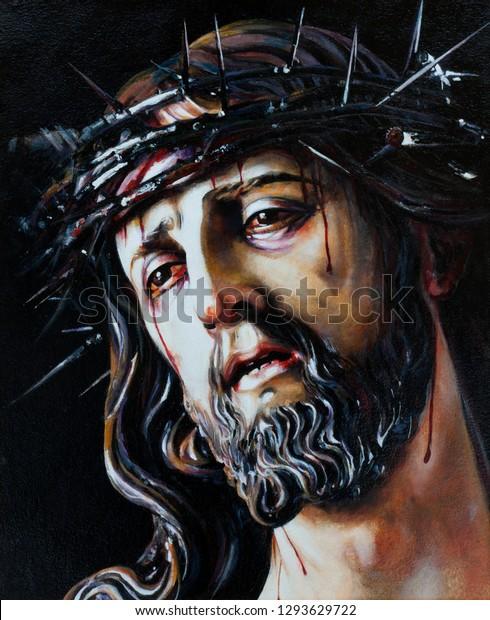 Jesus Christ Crown Thorns Oil Painting Stockillustration ...