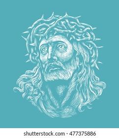 Jesus christ face images stock photos vectors shutterstock jesus christ graphic illustration christian symbol altavistaventures Gallery