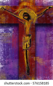 Jesus Christ on the cross - abstract artistic modern background digital painting illustration for Lent season and Passion, in purple and red tones.