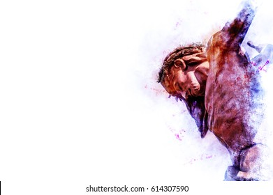 Jesus Christ on the cross. Artistic abstract religious background illustration with copy space for text.