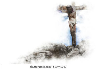 Jesus Christ on the cross - crucifixion on the Calvary Hill. Abstract artistic religious illustration of Good Friday