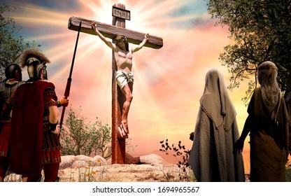 Jesus Christ on the wooden cross, INRI, crucifixion, 3d render illustration