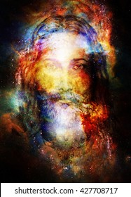 Jesus Christ painting with radiant colorful energy of light in cosmic space, eye contact