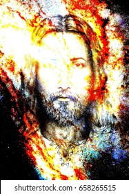 Jesus Christ painting with radiant colorful energy of light, eye contact.