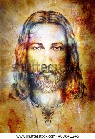 jesus christ painting radiant colorful energy stock illustration