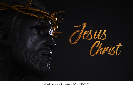 Jesus Christ Text Statue with Gold Crown of Thorns 3D Rendering Side Angle