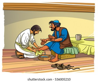 Jesus Christ washes the feet of his disciples Peter