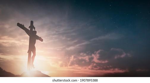 Jesuskreuz auf sonniger Landschaft-Hintergrund. 3D-Illustration