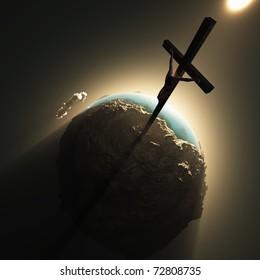 jesus crucifix above world