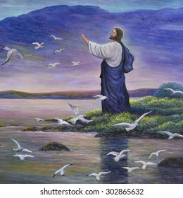Jesus feeds birds, original oil painting on canvas