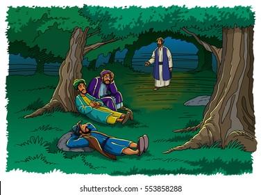 Jesus in Gethsemane finds disciples asleep
