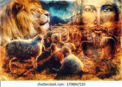 Jesus The Good Shepherd, Jesus and lambs and lion.