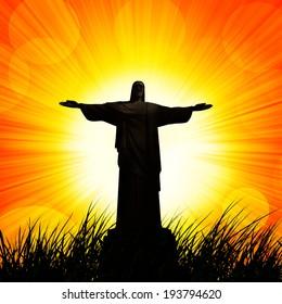 Jesus Grass Sunset Sky Background Stock Illustration 174119150