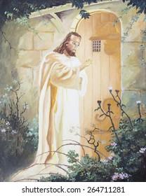 Jesus  knocking on the door, original oil painting on canvas