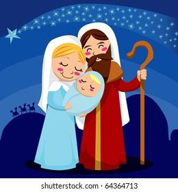 Jesus, Mary and Joseph under the shining star of Bethlehem. Raster version of vector illustration ID: 64246198