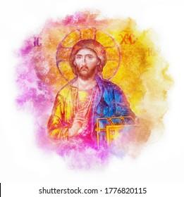 Jesus mosaic watercolor illustration, istanbul, turkey