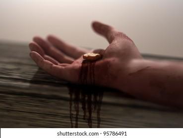 Jesus Nail-pierced Hand in focus
