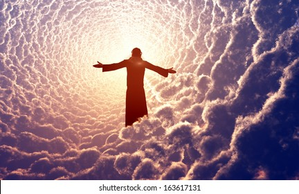 Jesus prays in the clouds.