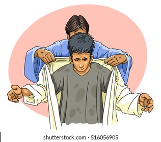Jesus puts a person in a clean robe of righteousness