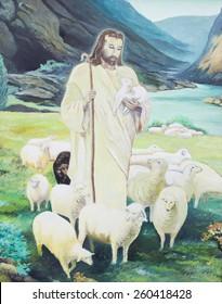 Jesus is the shepherd, original  oil painting, yellow green tone