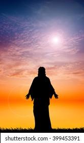 Jesus silhouette at sunset
