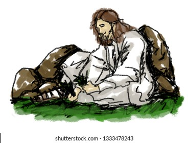 Jesus takes care of the seedlings.