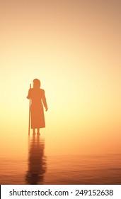 Jesus walking on water.
