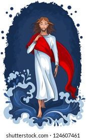 Jesus walking on water. Christian raster illustration. Also available vector version